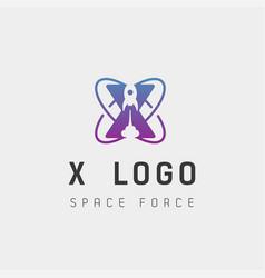 Space force logo design x initial galaxy rocket vector