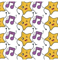 Star and music note kawaii character vector