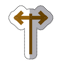 sticker wooden pointer direction path vector image