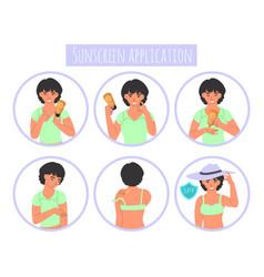 Sunscreen application steps flat vector
