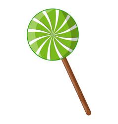 swirl striped lollipop peppermint symbol icon vector image