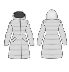 The sketch womens snow jacket vector