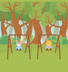 tiger and lion playing on swing forest fantasy vector image