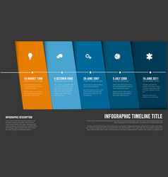 Timeline template with blue diagonal blocks vector