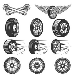 Tire service set of car tires isolated on white vector