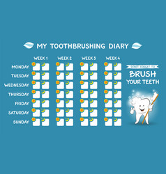 toothbrushing diary for kids week starts monday vector image