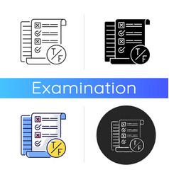 True false test icon vector