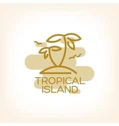 Two palm on the tropical island vector image