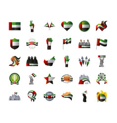 Uae national day set icons with people and vector