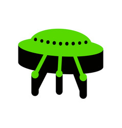 Ufo simple sign green 3d icon with black vector