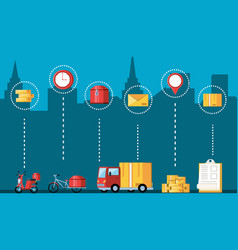 vehicles and set icons for logistic service vector image