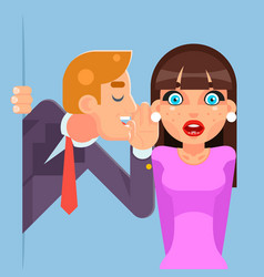 Whispering ear secrets cartoon businessman gossip vector