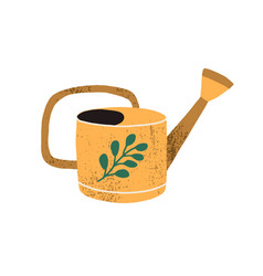 yellow vintage watering can isolated on white vector image