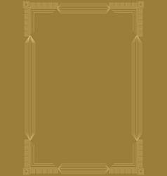 golden embossed art deco frame relief geometric vector image