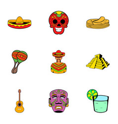 mexican culture icons set cartoon style vector image