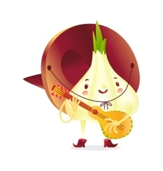 Onion character in boots and sombrero playing vector image