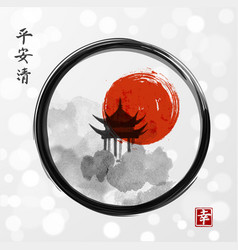 pagoda temple red sun and forest trees in black vector image vector image