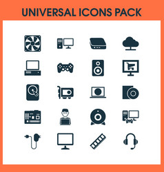 Device icons set with programmer desktop vector