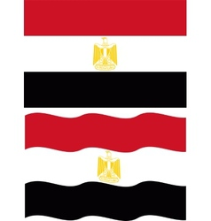 Flat and waving Egyptian Flag vector image vector image
