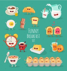 Funny Breakfast set vector image vector image
