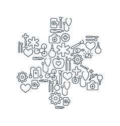 medical lined icons collection vector image