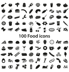 100 various food and drink black icons set eps10 vector image vector image
