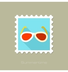 Sunglasses flat stamp with long shadow vector image vector image