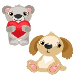 Teddy bear with heart and dog stuffed baby toy vector image vector image