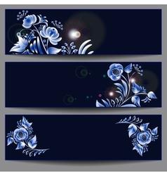 gzhel horizontal banners vector image