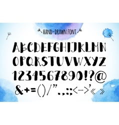 Hand-drawn alphabet on watercolor background vector image