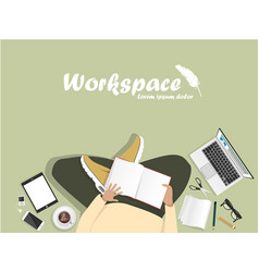 workplace with man with laptop vector image