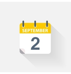 2 september calendar icon vector image