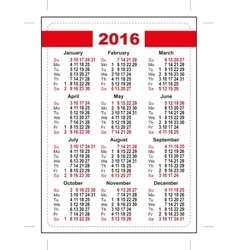 2016 pocket calendar First day Sunday Vertical vector image
