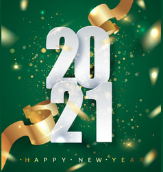 2021 green happy new year background with vector image