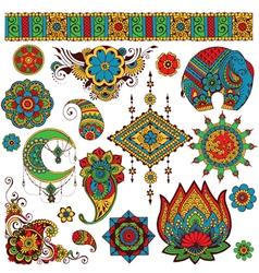 a set indian symbols for design vector image