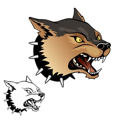 Agressive dog head vector