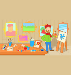 Artist horizontal banner workshop cartoon style vector