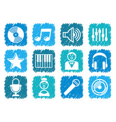 audio and music icons vector image