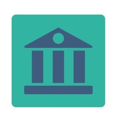 Bank flat cobalt and cyan colors rounded button vector