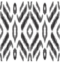 Black and white ikat seamless pattern vector