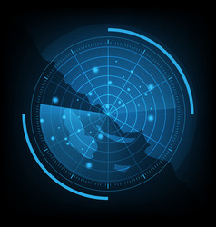 Blue radar screen with map vector