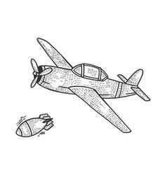 bomber plane drops bomb sketch engraving vector image