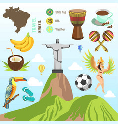Brazil travel famous brazilian sightseeing vector