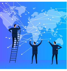 Business people team with world map connecting vector