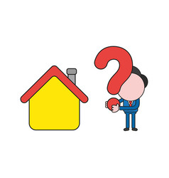 Businessman character with house and holding vector
