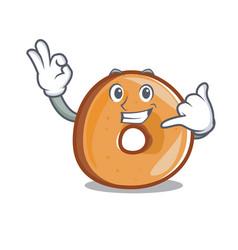 call me bagels mascot cartoon style vector image