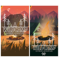 camping vertical background poster with with tent vector image