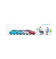 Car insurance semi flat rgb color set vector