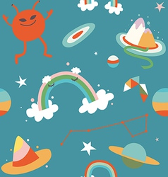 Cartoon cosmos and alien blue seamless pattern vector image vector image