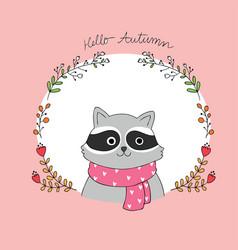 cartoon cute autumn raccoon and frame vector image